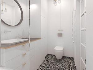 Mieszkanie 2+1, 86m2 - Mała biała łazienka na poddaszu w bloku w domu jednorodzinnym bez okna, styl eklektyczny - zdjęcie od A+A