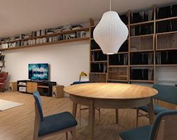 Mieszkanie 2+1, 80m2 - Duża otwarta szara jadalnia w salonie, styl nowoczesny - zdjęcie od A+A