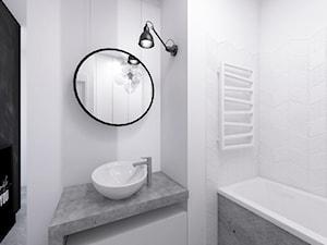 Mieszkanie 2+pies, 53m2 - Mała biała czarna łazienka na poddaszu w bloku w domu jednorodzinnym bez okna, styl industrialny - zdjęcie od A+A