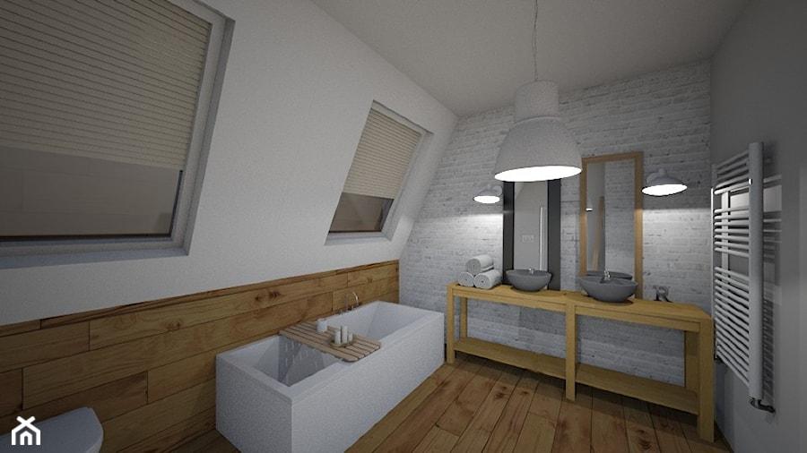Skandynawska łazienka Drewno Cegła Biel I Szarości