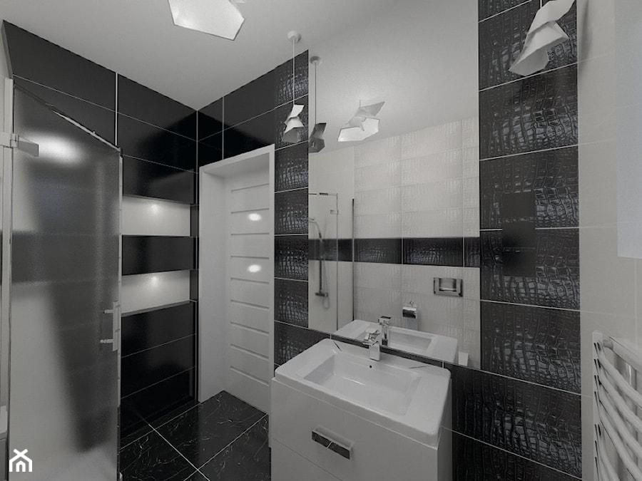 Czarno Biała łazienka Projekt Wnętrza Mieszkalnego