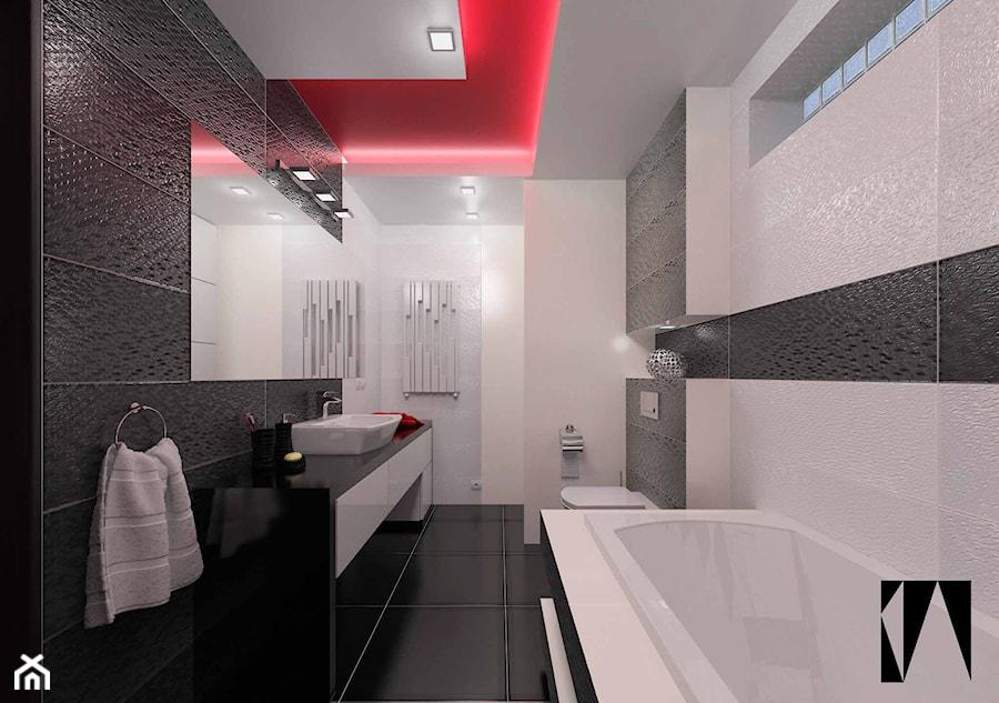 Czarny Czerwony Biały Duża Beżowa Czarna łazienka W Bloku