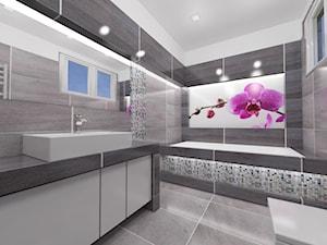 Szara łazienka - Średnia szara łazienka w domu jednorodzinnym z oknem, styl glamour - zdjęcie od Katarzyna Wnęk
