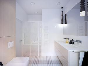 dom prywatny - Duża biała łazienka w bloku w domu jednorodzinnym bez okna, styl skandynawski - zdjęcie od JOTKA PROJEKT