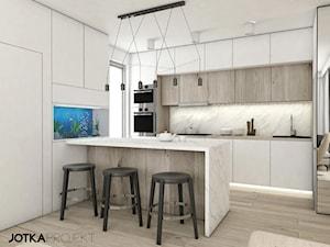mieszkanie Lublin - Średnia biała kuchnia w kształcie litery l w aneksie z wyspą z oknem, styl skandynawski - zdjęcie od JOTKA PROJEKT