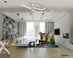 DOM W LUBLINIE - Duży biały żółty salon z bibiloteczką, styl nowoczesny - zdjęcie od JOTKA PROJEKT