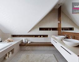 Dom na Podhalu - Średnia biała szara łazienka na poddaszu w domu jednorodzinnym bez okna, styl nowo ... - zdjęcie od Intellio designers projekty wnętrz - Homebook