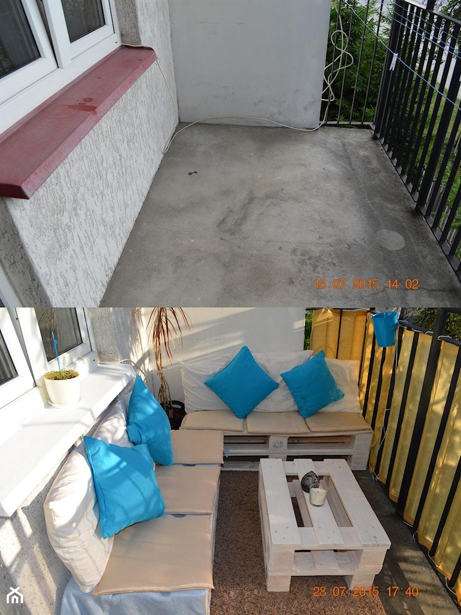 Aranżacje wnętrz - Taras: Metamorfoza balkonu - Mały taras z tyłu domu - czajkaan. Przeglądaj, dodawaj i zapisuj najlepsze zdjęcia, pomysły i inspiracje designerskie. W bazie mamy już prawie milion fotografii!