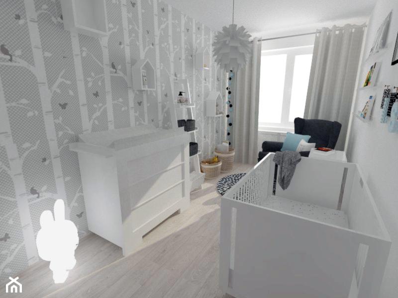 Aranżacje wnętrz - Pokój dziecka: Projekt pokoju dziecięcego - Mały biały szary pokój dziecka dla chłopca dla dziewczynki dla niemowlaka dla malucha, styl nowoczesny - white interior design. Przeglądaj, dodawaj i zapisuj najlepsze zdjęcia, pomysły i inspiracje designerskie. W bazie mamy już prawie milion fotografii!