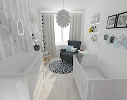 Projekt pokoju dziecięcego - Mały miętowy pokój dziecka dla chłopca dla dziewczynki dla niemowlaka, styl nowoczesny - zdjęcie od white interior design