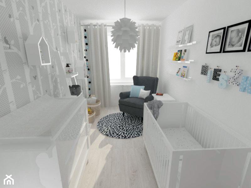 Aranżacje wnętrz - Pokój dziecka: Projekt pokoju dziecięcego - Mały miętowy pokój dziecka dla chłopca dla dziewczynki dla niemowlaka, styl nowoczesny - white interior design. Przeglądaj, dodawaj i zapisuj najlepsze zdjęcia, pomysły i inspiracje designerskie. W bazie mamy już prawie milion fotografii!