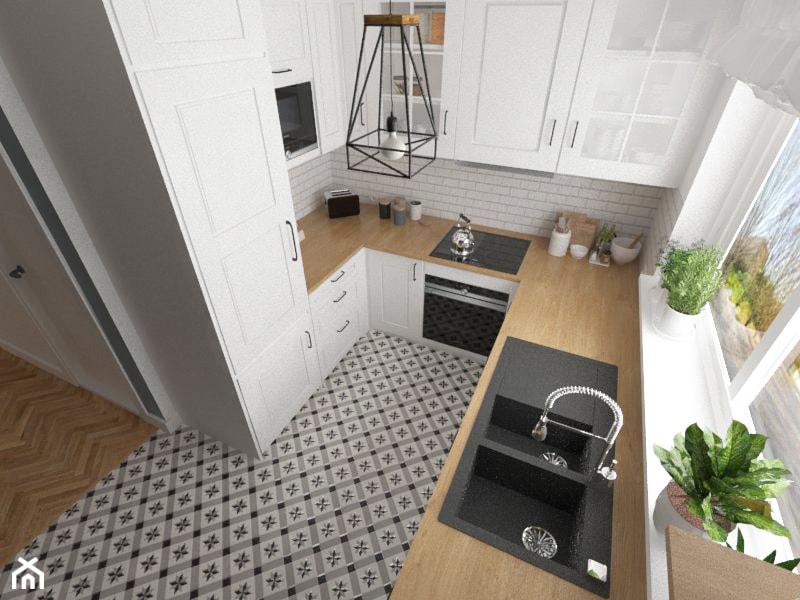 Dom w zabudowie szeregowej - Średnia zamknięta biała szara kuchnia w kształcie litery u w aneksie z oknem, styl prowansalski - zdjęcie od white interior design