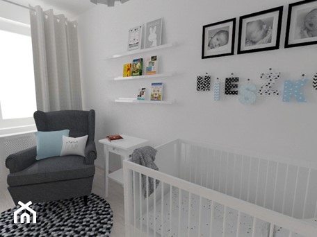 Projekt pokoju dziecięcego - Mały biały pokój dziecka dla chłopca dla niemowlaka, styl nowoczesny - zdjęcie od white interior design