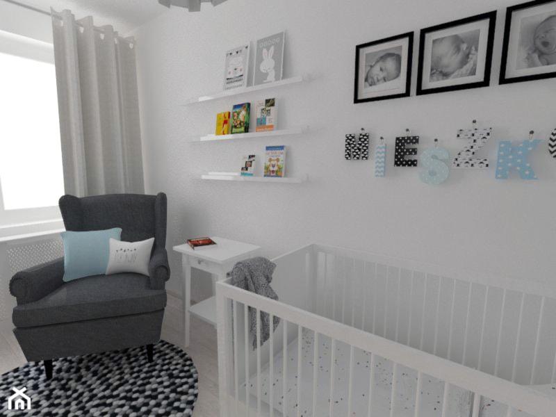 Aranżacje wnętrz - Pokój dziecka: Projekt pokoju dziecięcego - Mały biały pokój dziecka dla chłopca dla niemowlaka, styl nowoczesny - white interior design. Przeglądaj, dodawaj i zapisuj najlepsze zdjęcia, pomysły i inspiracje designerskie. W bazie mamy już prawie milion fotografii!