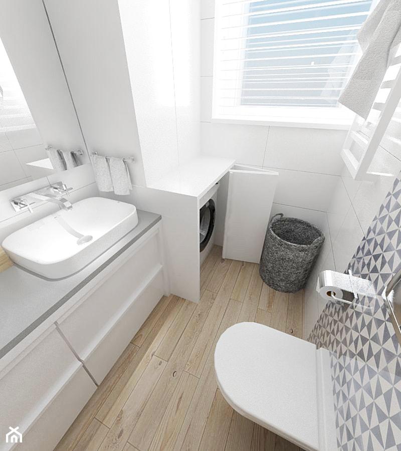 Dom w zabudowie szeregowej - Mała biała szara łazienka w bloku w domu jednorodzinnym z oknem, styl nowoczesny - zdjęcie od white interior design