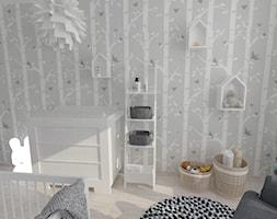 Projekt pokoju dziecięcego - Mały szary pokój dziecka dla chłopca dla dziewczynki dla niemowlaka dla malucha, styl nowoczesny - zdjęcie od white interior design
