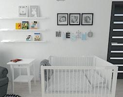 Projekt pokoju dziecięcego - Mały szary pokój dziecka dla chłopca dla dziewczynki dla niemowlaka, styl nowoczesny - zdjęcie od white interior design