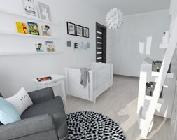 Projekt pokoju dziecięcego - Średni biały pokój dziecka dla chłopca dla dziewczynki dla niemowlaka, styl nowoczesny - zdjęcie od white interior design