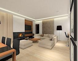 Projekt domu - Średni biały salon z jadalnią, styl nowoczesny - zdjęcie od MKdezere