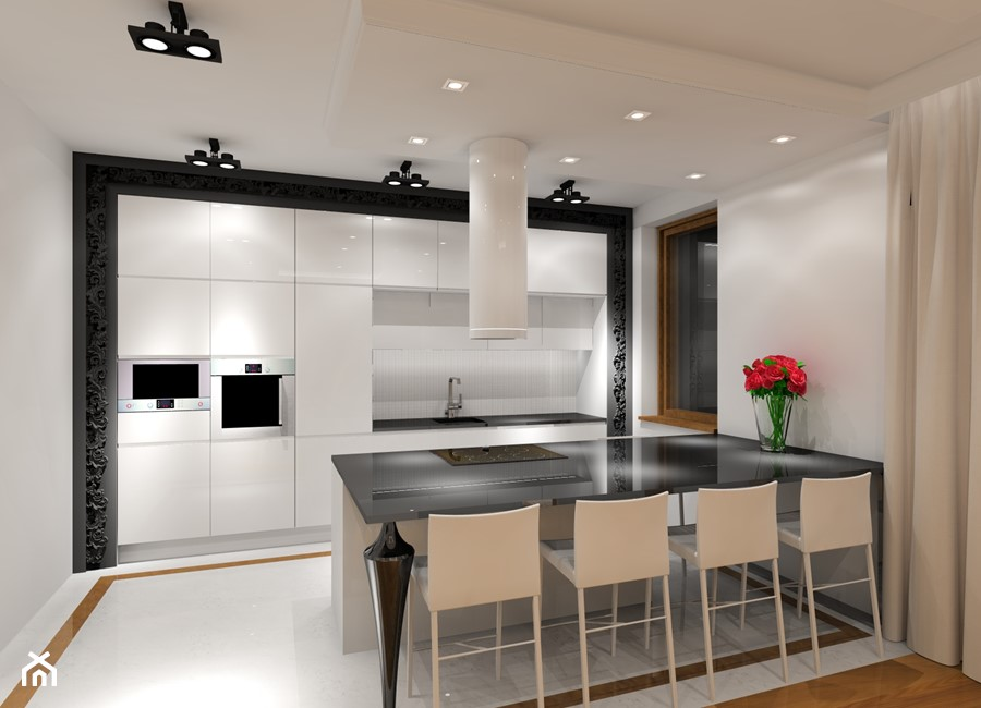 Mieszkanie z kroplą glamour  Średnia otwarta kuchnia jednorzędowa w aneksie,