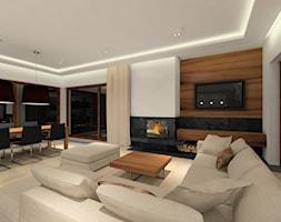 Projekt domu - Duży biały salon z jadalnią, styl nowoczesny - zdjęcie od MKdezere