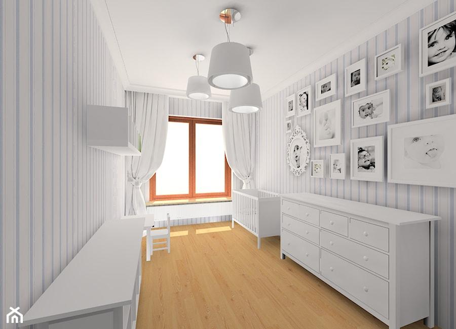 Projekt pokoju dziecięcego - Duży biały pastelowy niebieski pokój dziecka dla chłopca dla dziewczynki dla niemowlaka, styl klasyczny - zdjęcie od MKdezere