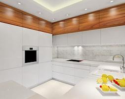 Przytulne mieszkanie - Duża otwarta biała kuchnia w kształcie litery g z wyspą, styl nowoczesny - zdjęcie od MKdezere
