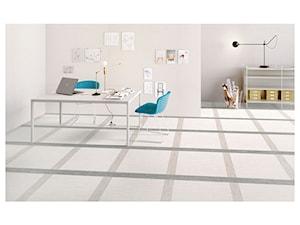SANT'AGOSTINO DIGITALART - Średnie beżowe białe biuro pracownia, styl minimalistyczny - zdjęcie od modnydom24