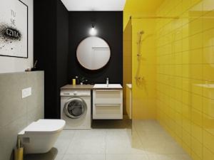 Mieszkanie 33m2 - Średnia biała beżowa czarna żółta łazienka bez okna - zdjęcie od Pogotowie Wnętrzarskie