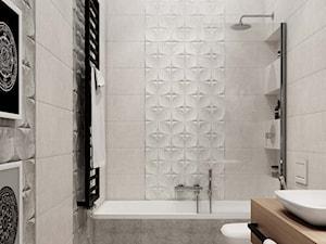jasnoszara łazienka, drewniane akcenty - zdjęcie od MIKOŁAJSKAstudio