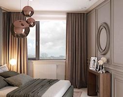 Apartament w zakolu Wisły - Mała szara sypialnia małżeńska, styl nowoczesny - zdjęcie od MIKOŁAJSKAstudio