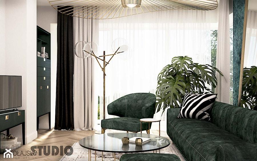 salon-zielone meble, mosiężne detale - zdjęcie od MIKOŁAJSKAstudio
