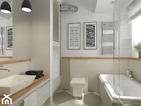 Mieszkanie w budynku z lat 40-tych - Średnia biała beżowa łazienka, styl vintage - zdjęcie od MIKOŁAJSKAstudio