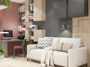 WIŚLANE TARASY - Średnie czarne różowe biuro domowe w pokoju, styl nowoczesny - zdjęcie od MIKOŁAJSKAstudio