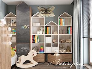 Apartament w Płocku - Mały czarny pokój dziecka dla chłopca dla dziewczynki dla malucha, styl nowoczesny - zdjęcie od MIKOŁAJSKAstudio