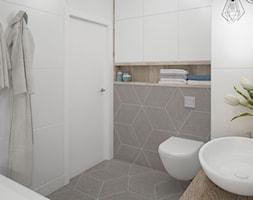 łazienka-jasna-biała-beżowa-biel-beż-drewno-w-łazience-romby - zdjęcie od MIKOŁAJSKAstudio