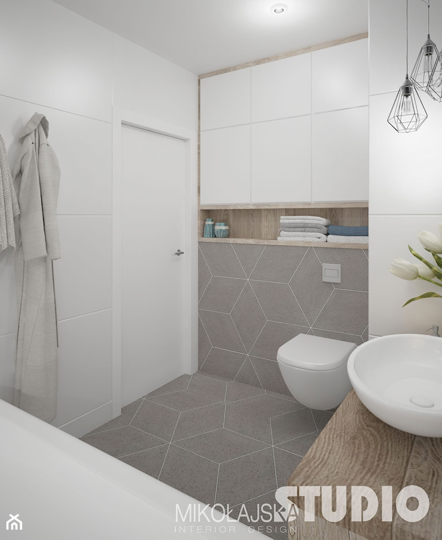 łazienka Jasna Biała Beżowa Biel Beż Drewno W łazience Romby