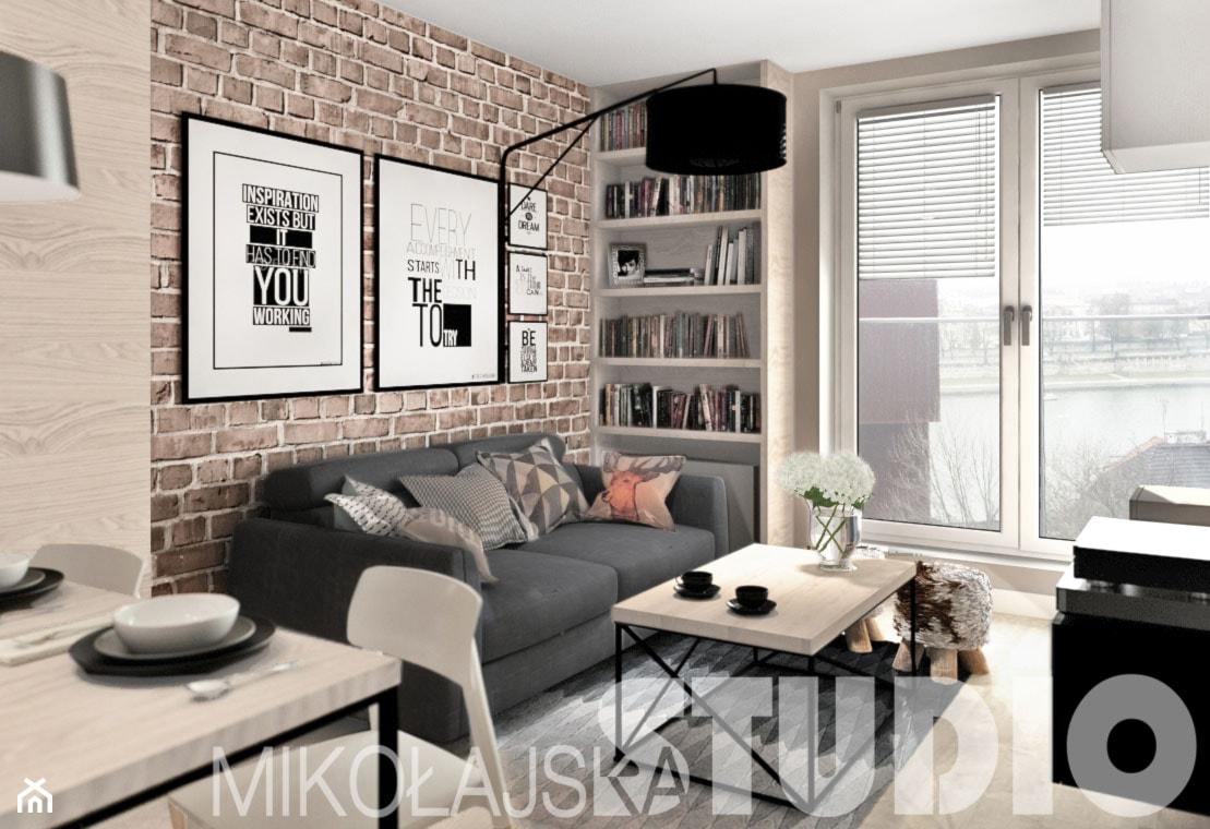 beton-drewno-cegła-salon - zdjęcie od MIKOŁAJSKAstudio - Homebook