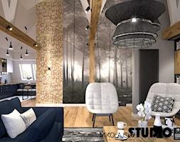 Apartament na strychu - Średni szary biały salon z kuchnią z jadalnią, styl industrialny - zdjęcie od MIKOŁAJSKAstudio - Homebook