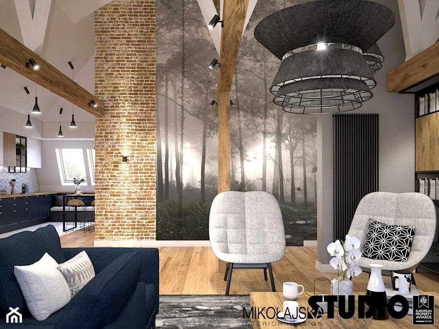 Apartament na strychu - Salon, styl industrialny - zdjęcie od MIKOŁAJSKAstudio