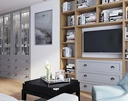 salon ze ścianką TV - zdjęcie od MIKOŁAJSKAstudio