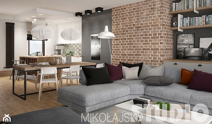 loft style salon styl industrialny zdj cie od miko ajskastudio. Black Bedroom Furniture Sets. Home Design Ideas