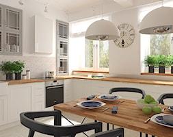 Mieszkanie w budynku z lat 40-tych - Średnia otwarta biała beżowa kuchnia w kształcie litery l w aneksie, styl vintage - zdjęcie od MIKOŁAJSKAstudio