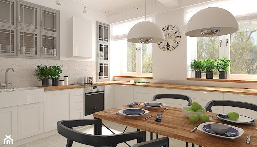 Mieszkanie w budynku z lat 40 tych  Średnia otwarta kuchnia w kształcie lite   -> Kuchnia Nowoczesna I Retro