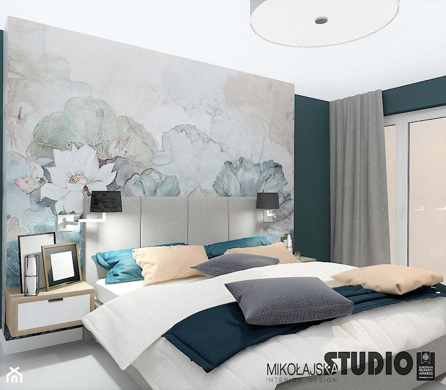 Sypialnia Z Florystyczną Tapetą Zdjęcie Od