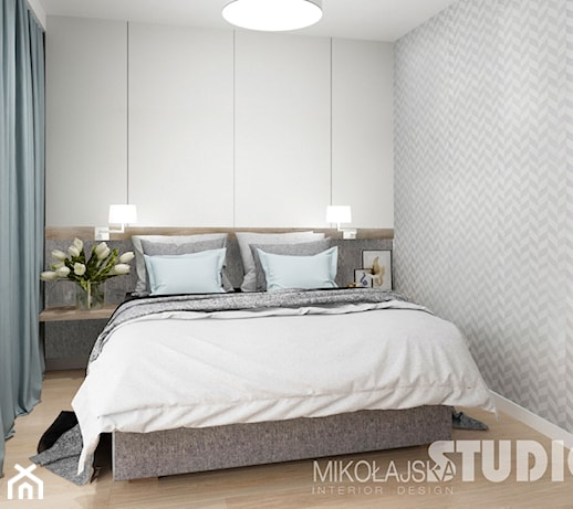 D Interiors Mała Sypialnia: Sypialnia-jasna-szara-tapeta-w-sypialni-drewno-błękit