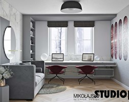 Szykowne wnętrze nad Baranówką - Średnie szare białe biuro domowe w pokoju, styl nowoczesny - zdjęcie od MIKOŁAJSKAstudio