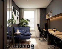 Apartament przy ul. Lema - Średnie czarne szare białe biuro domowe kącik do pracy w pokoju, styl nowoczesny - zdjęcie od MIKOŁAJSKAstudio