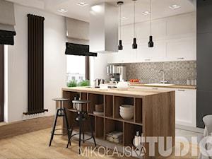 LOFT style - Średnia otwarta biała jadalnia w kuchni, styl skandynawski - zdjęcie od MIKOŁAJSKAstudio