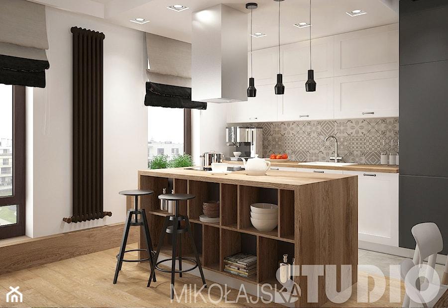 Loft Style Srednia Otwarta Biala Jadalnia W Kuchni Styl